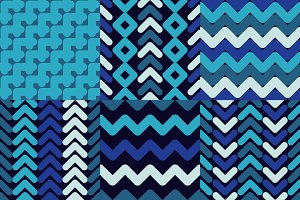 Set of 6  Seamless geometric pattern
