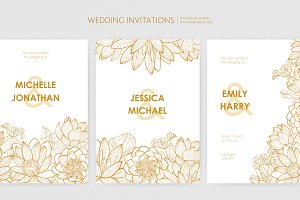 Wedding invitation with lotus flower