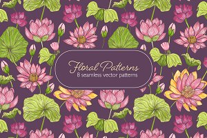 Seamless pattern with lotus