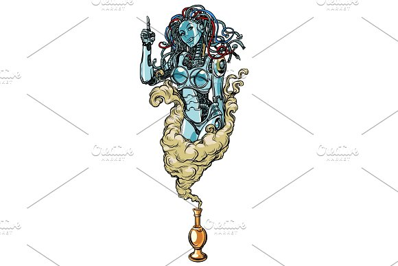 Isolated On White Background Female Robot The Genie Of The Lamp