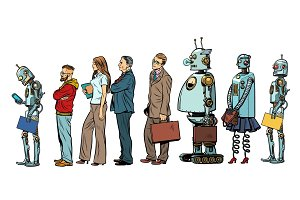 The set of all people. Woman man robot hipster businessman