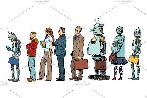 The Set Of All People Woman Man Robot Hipster Businessman