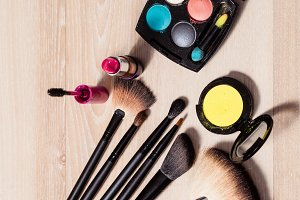 Cosmetics on a wooden background