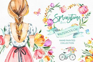 Springtime. Watercolor collection