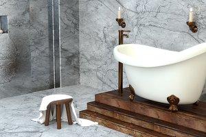 Old oval retro bath on legs. 3D