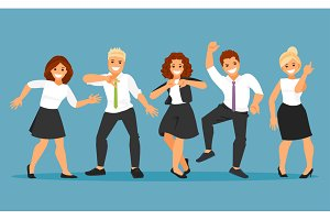 Dancing business people vector