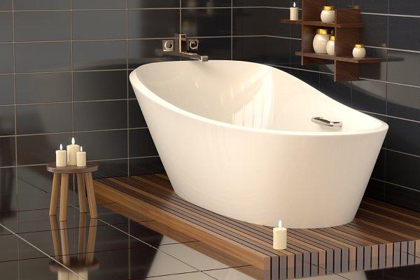 Modern bathroom with ceramic bath