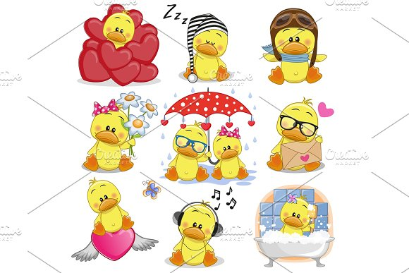 Set Of Cute Cartoon Ducks
