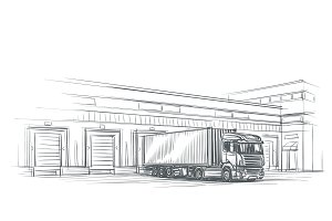 Truck near loading dock drawing.