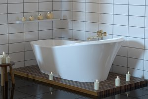 Modern bathroom with ceramic bath