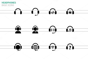 Headphones icons on white