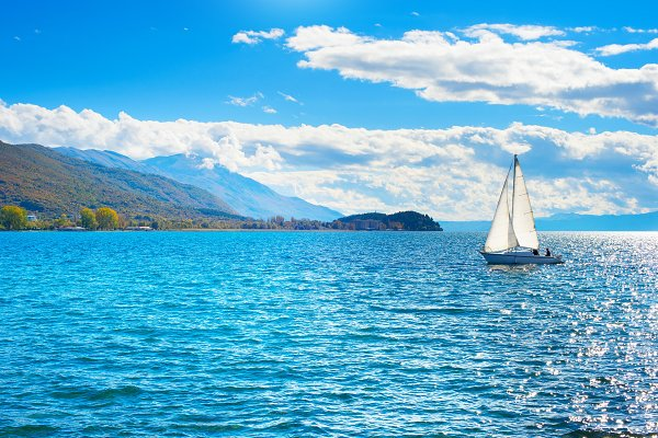 Transportation Stock Photos - Yacht on a lake Ohrid, Macedonia