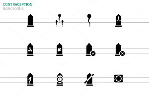 Contraception and sperm icons