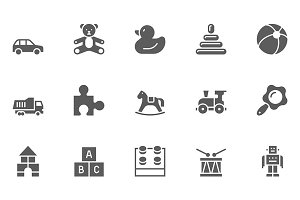 Set of Toys Vector Icons