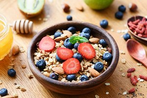 Granola bowl with berries