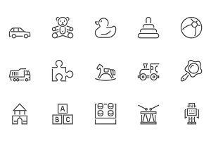 Toys Line Icons Set