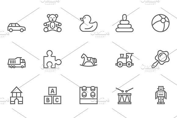Toys Line Icons Set
