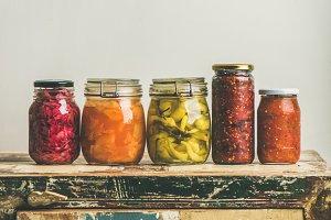 Autumn pickled vegetables in jars