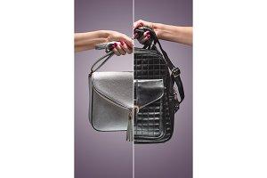 Fashion. Female hand Stylish Trendy Handbag clutch