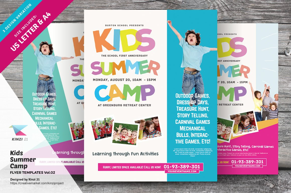 Kids summer camp flyers flyer templates for Sports camp brochure template