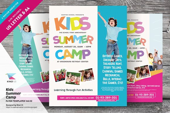 kids summer camp flyers vol 02 flyer templates creative market