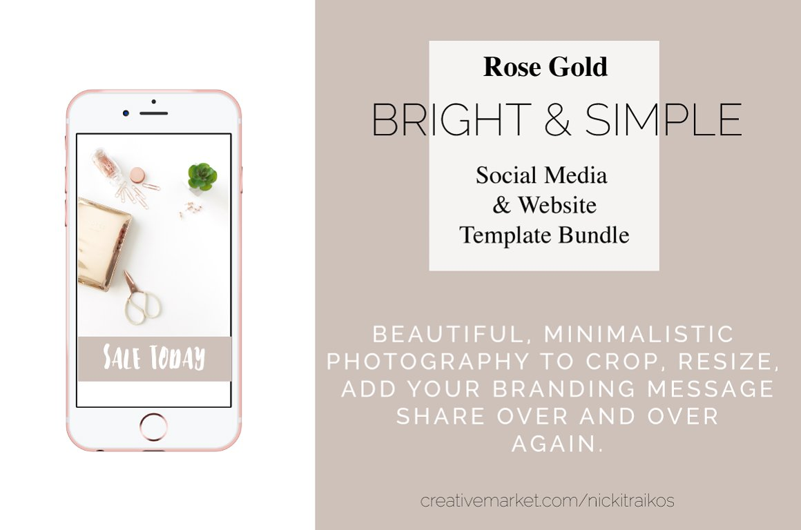 Rose Gold Bright and Simple Desktop