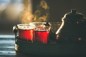Traditional hot steaming Turkish tea