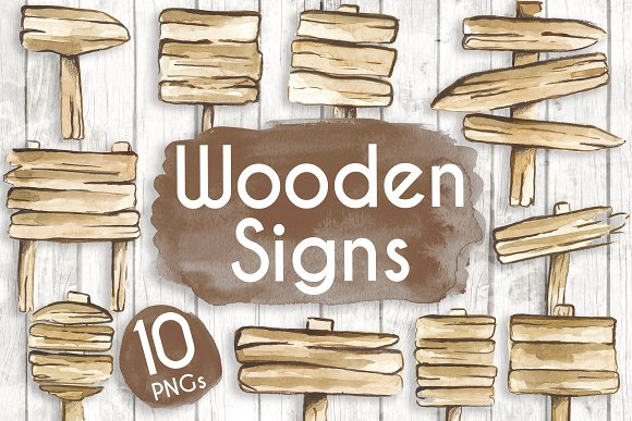 Watercolour Wooden Signs