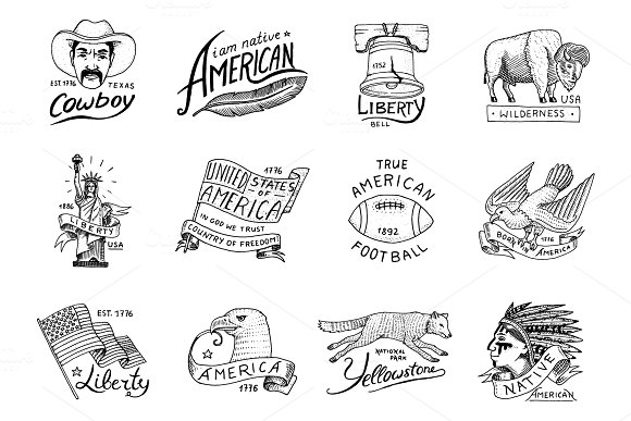Native American Set Old Labels Or Badges For Camping Hiking Hunting Buffalo And Flag Eagle And Cowboy Wolf With Red Skinned Indian Engraved Hand Drawn In Old Sketch