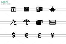 Banking icons on white