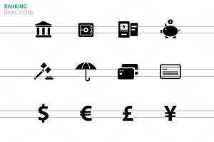 Banking icons on white