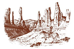 National American Indian riding horse with spear in hand. landscape with mountains and peaks. traditional man. engraved hand drawn in old sketch. desert, Utah, Monument Valley.