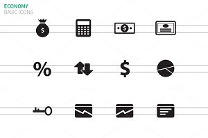Economy icons on white