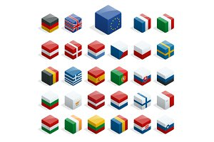 Set of isometric boxes with flags. Simple containers with standards.
