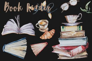 Watercolor Book Reader Clipart Set