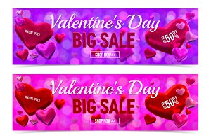 Valentine's day sale banner.