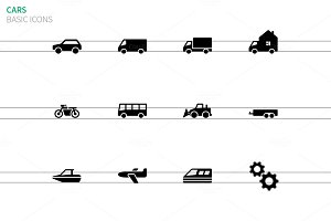Cars and Transport icons on white