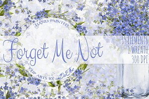 Forget Me Not Watercolor Clip Art