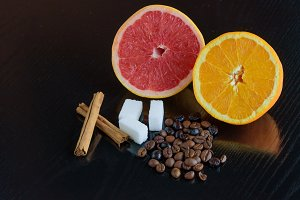 Citrus, cinnamon, sugar and coffee