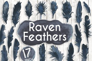 Watercolour Black Raven Feathers