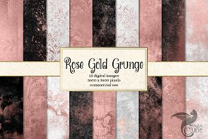 Rose Gold Grunge Digital Paper