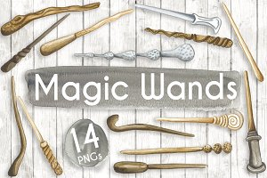 Watercolour Wooden Magic Wands