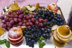 Grapes on a tray.