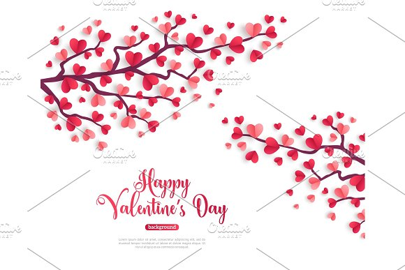 Valentine trees branch with paper heart leaves