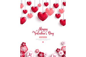 Valentine's day background with paper cut flowers