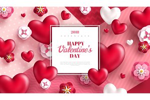 Valentine hearts and flowers with white frame