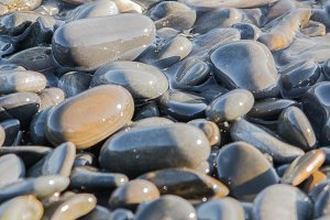 Wet stones on the sea shore suitable for header or footer