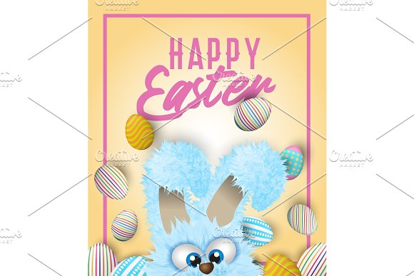 Happy Easter greeting card with painted or decorated eggs and blue fluffy bunny that is hiding beneath.