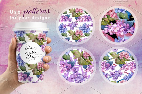 Hydrangea PNG watercolor flower set  in Illustrations - product preview 1