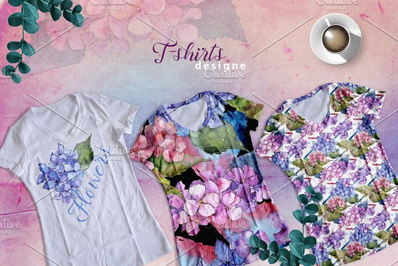 Hydrangea PNG watercolor flower set  in Illustrations - product preview 2